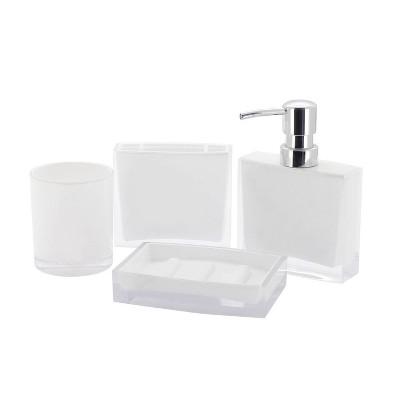 4pc Krystal Bathware Acrylic Bath Accessory Combo White - Kingston Brass