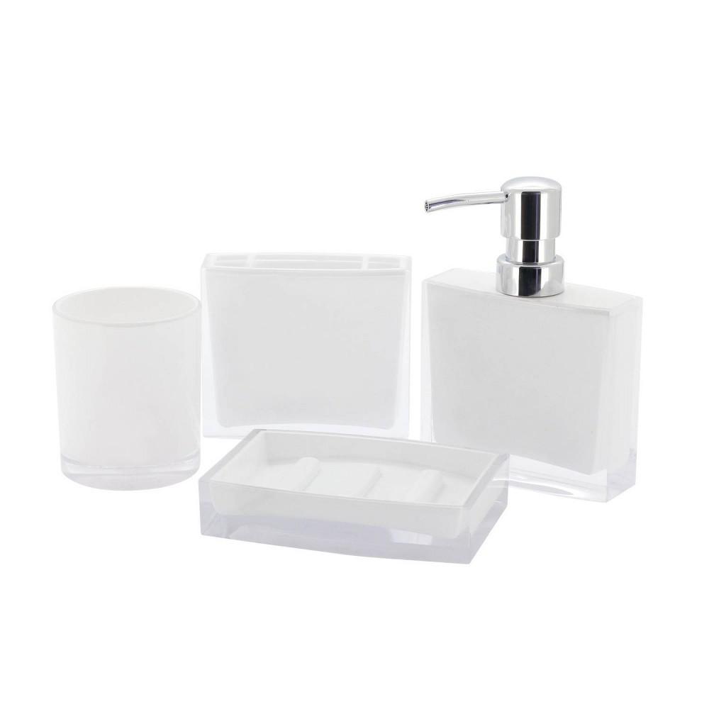 Image of 4pc Krystal Bathware Acrylic Bath Accessory Combo White - Kingston Brass