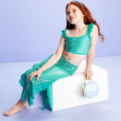 Girls' Mermaid Tail Swim Cover Up Skirt - More Than Magic™ Aqua - image 1 of 3