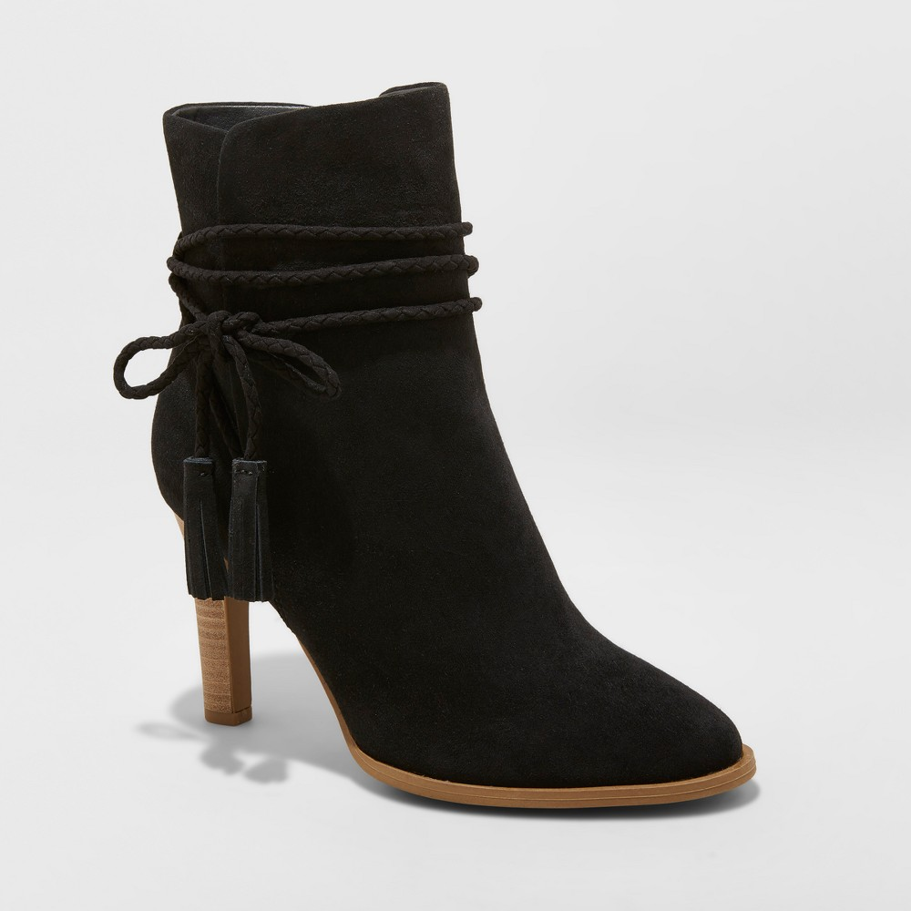 Women's Leyla Microsuede Heeled Tassle Bootie - Universal Thread Black 7