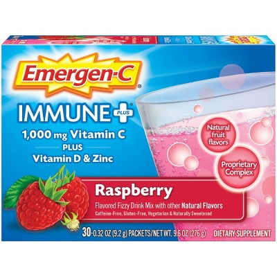 Emergen-C Immune+ Dietary Supplement Powder Drink Mix with Vitamin C - Raspberry - 30ct