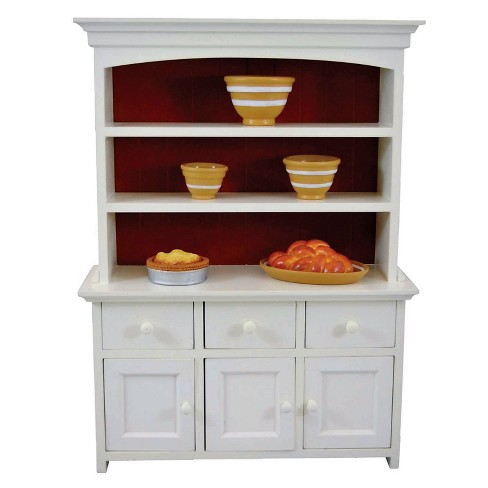 The Queen S Treasures 18 Inch Doll Furniture Off White Wood Kitchen Hutch With Drawers For Accessories Target