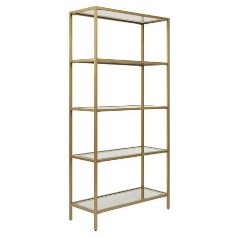 """72"""" Langley Glass Shelves Bookcase Gold - Carolina Chair & Table - image 1 of 2"""