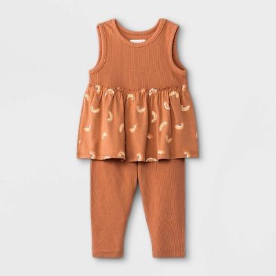 Grayson Mini Baby Girls' Rainbow Tank Top with Peplum & Leggings Set - Orange 0-3M