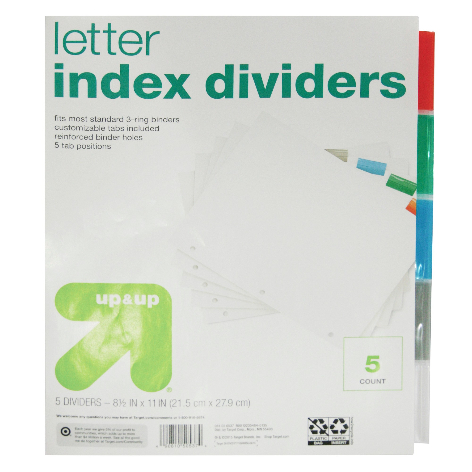 Letter Index Dividers 5ct - Up&Up , Clear