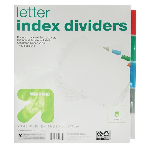 Letter Index Dividers 5ct - Up&Up™ - image 1 of 1