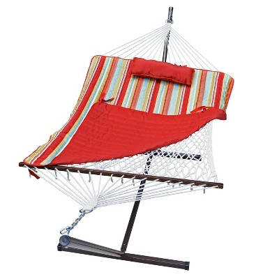 12' Cotton Rope Hammock, Stand, Pad & Pillow Combination Set - Orange - Algoma