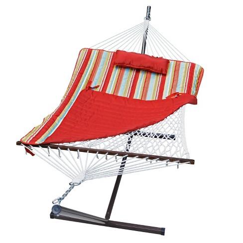 12' Cotton Rope Hammock, Stand, Pad & Pillow Combination Set - Orange - Algoma - image 1 of 4