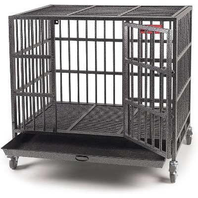 Pet Edge ZW179 37 Indestructible Steel Crate Dog Cat Small Animal Medium Wheeled Pet Cage with Tray, Black