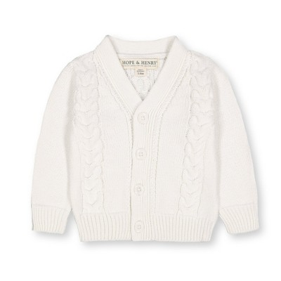 Hope & Henry Layette Baby Long Sleeve Cable Knit Cardigan Sweater, Infant
