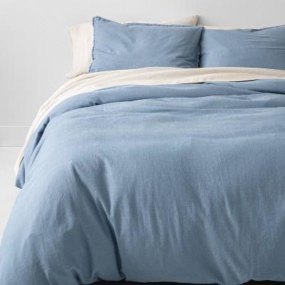 King Heavyweight Linen Blend Duvet Cover & Sham Set Sky Blue - Casaluna™