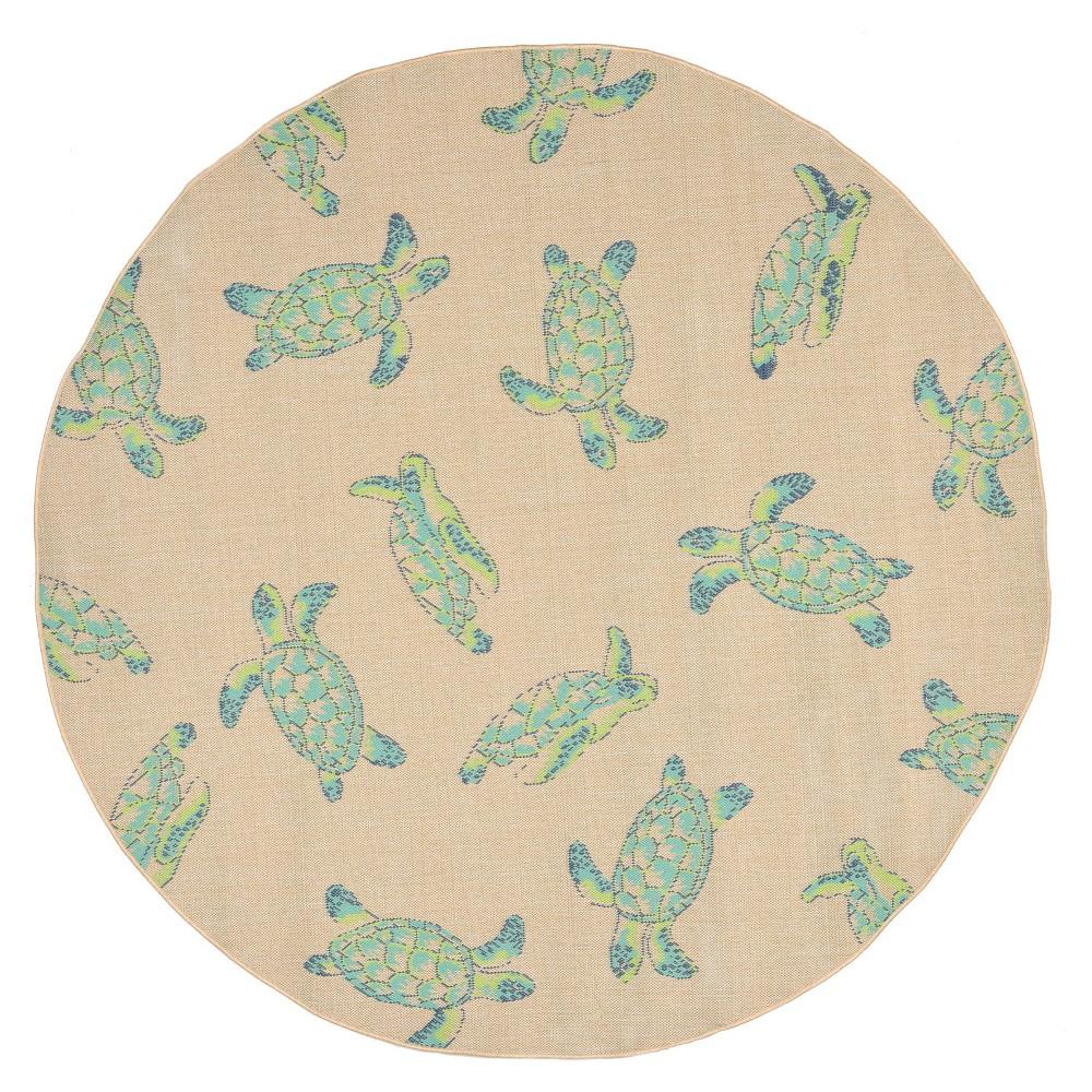 Playa Indoor/Outdoor Sea turtles Cool Round Rug 7'10 Natural - Liora Manne, Beige