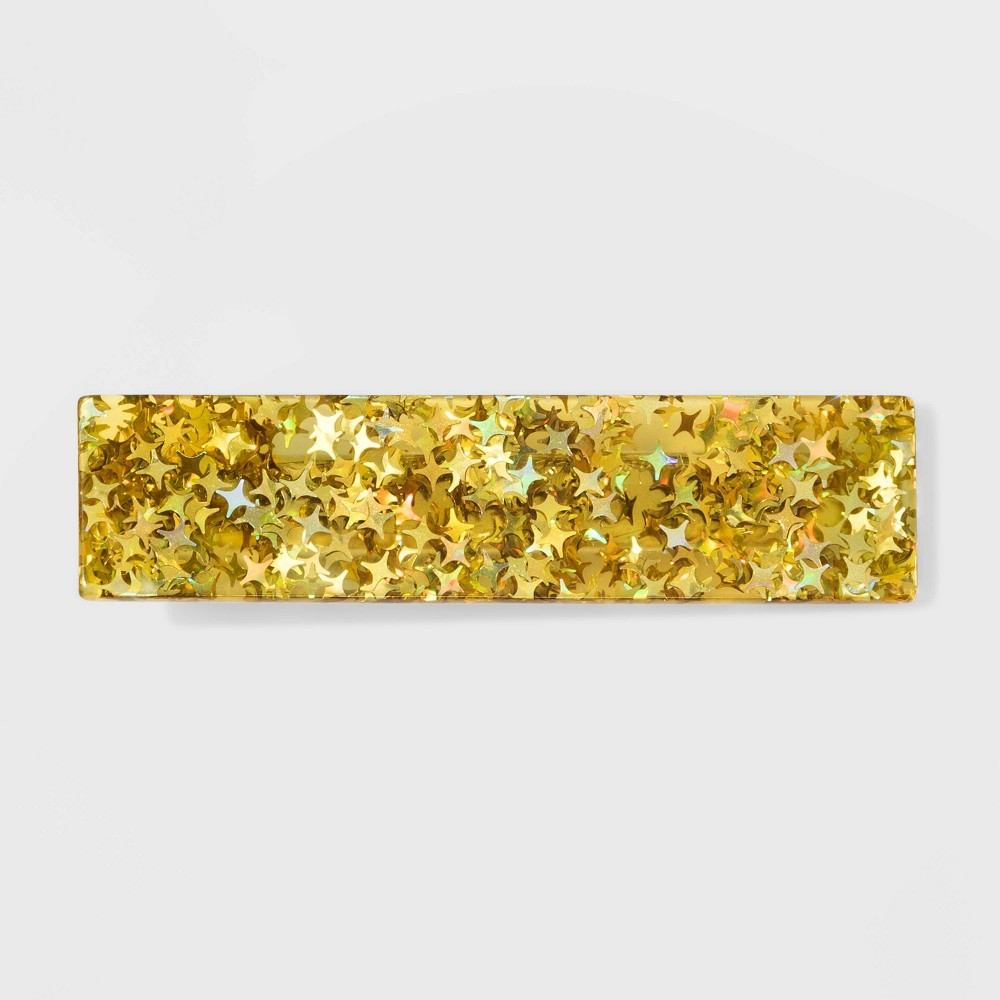Image of Acrylic Metallic Stars Metal Automatic Barrette - Wild Fable Gold