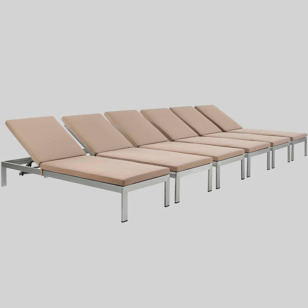 Shore 6pk Aluminum Patio Chaise Lounge with Cushions - Mocha (Brown) - Modway