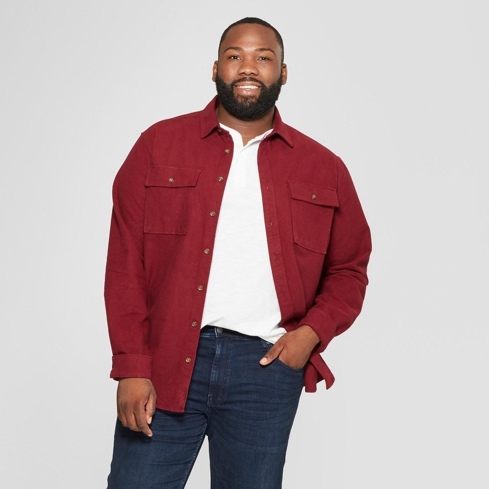 Men's Tall Long Sleeve Pocket Flannel Button-Down Shirt - Goodfellow & Co Berry Cobbler Xlt