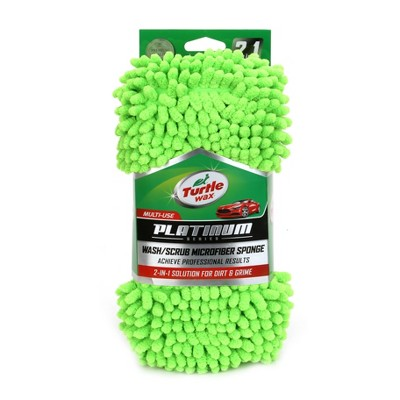4 x10  Platinum 2 -in-1 Car Wash Sponge Green - Turtle Wax