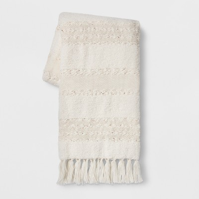 Chenille Moroccan Wedding Bed Throw Cream - Opalhouse™