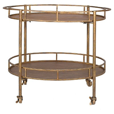 Oval 2-Tier Bar Cart on Casters - Gold (34-1/2 Lx30 H)