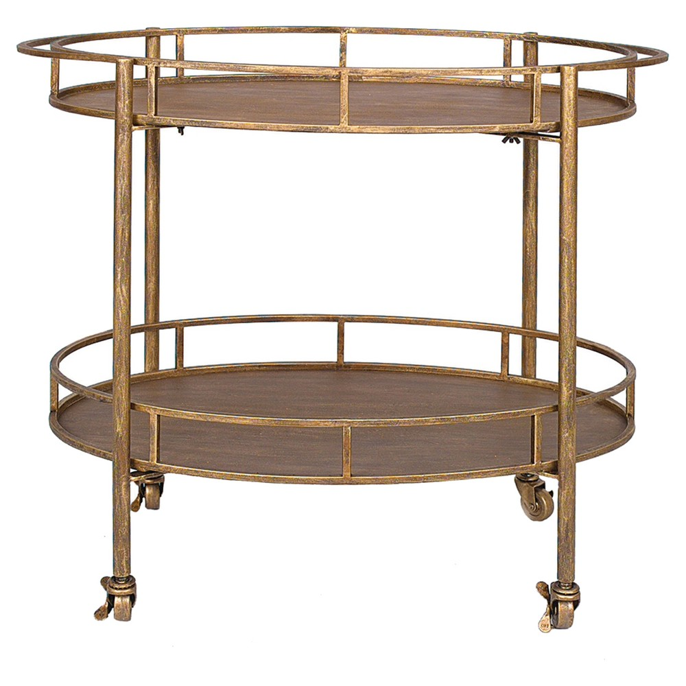 Oval 2-Tier Bar Cart on Casters - Gold (34-1/2Lx30H)