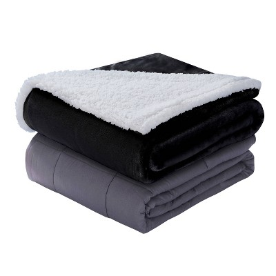 """48"""" x 72"""" 15lbs Weighted Blanket with Reversible Sherpa Cover Charcoal/Ivory - DreamLab"""