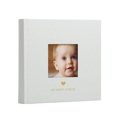 Pearhead Baby Photo Album - Gray/White Polka Dots