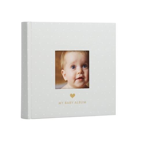 Pearhead Baby Photo Album - Gray/White Polka Dots - image 1 of 4