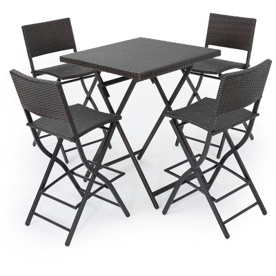 Margarita 5pc All-Weather Wicker Patio Bar Set - Brown - Christopher Knight Home
