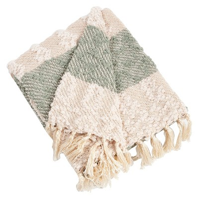 "50""x60"" Nubby Design Striped Throw Blanket Sea Green - Saro Lifestyle"