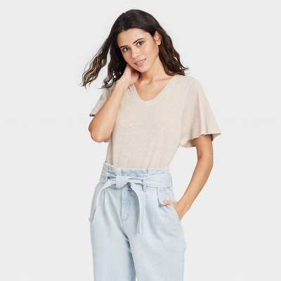 Women's Flutter Short Sleeve Scoop Neck Linen T-Shirt - A New Day™