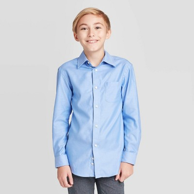 Boys' Long Sleeve Button-Down Shirt - Cat & Jack™ Blue
