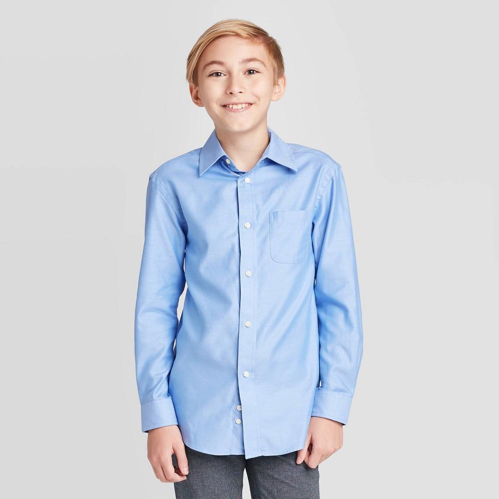 Boys Long Sleeve Button Down Shirt Cat Jack 8482 Blue Xl