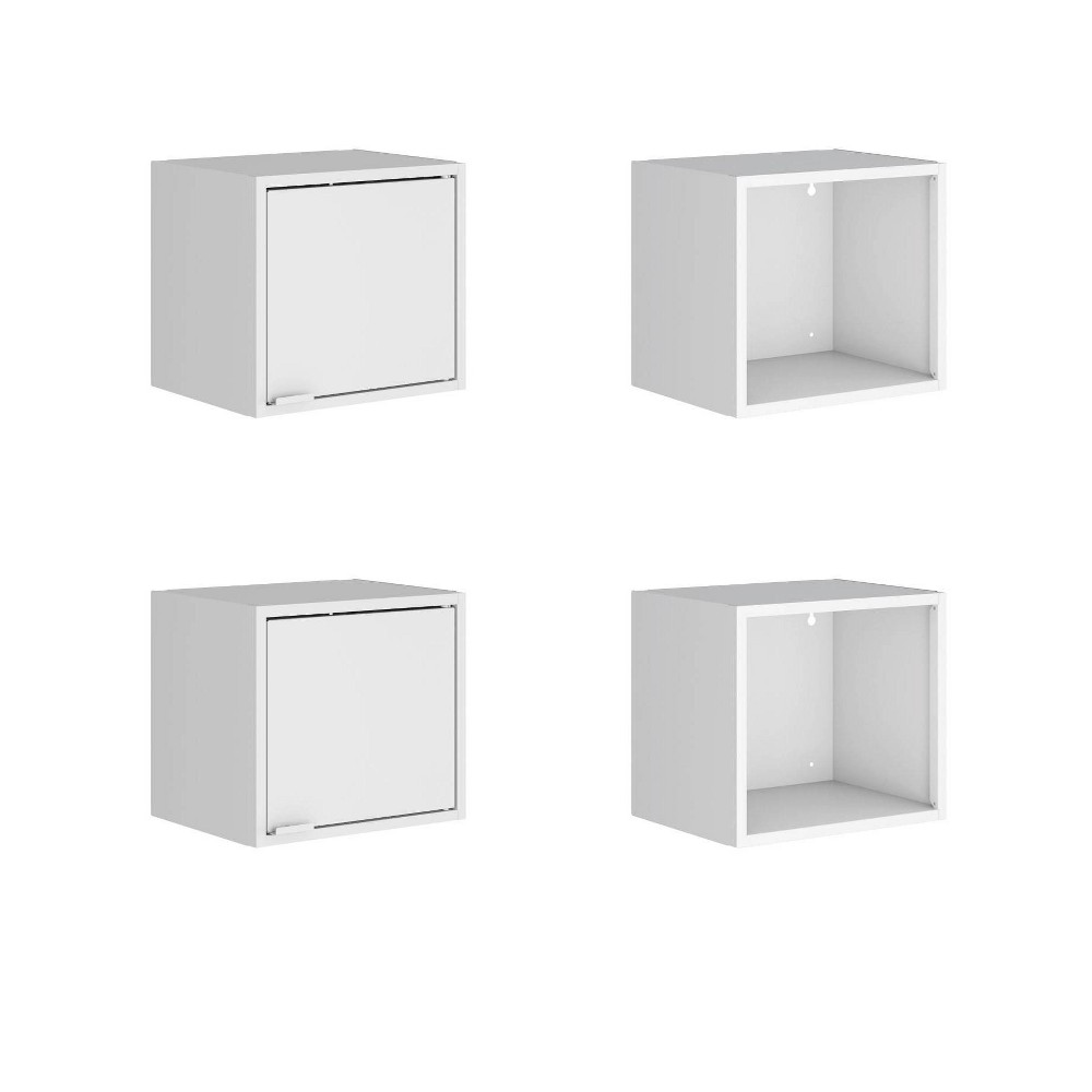 "Image of ""13.77"""" Set of 4 Smart Floating Cabinet and Display Shelf White - Manhattan Comfort"""