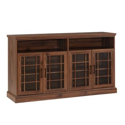 "4 Door Transitional Elegant WindowpaneTV Stand for TVs up to 65"" Dark Walnut - Saracina Home"