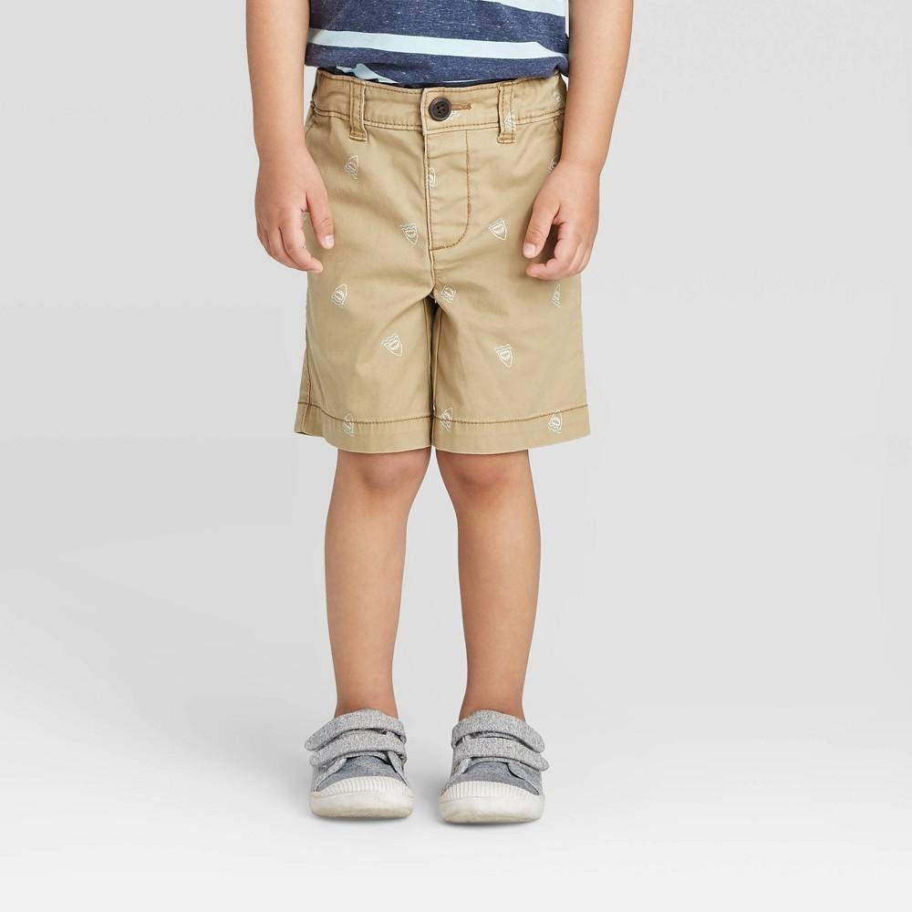 Image of OshKosh B'gosh Toddler Boys' Icon Woven Chino Shorts - Khaki 12M, Toddler Boy's, Brown