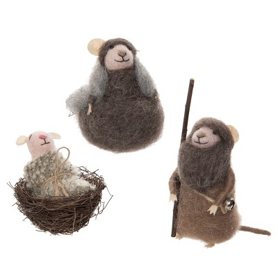 Gallerie II Mouse Nativity Holiday Christmas Xmas Ornament Wool Set of 3
