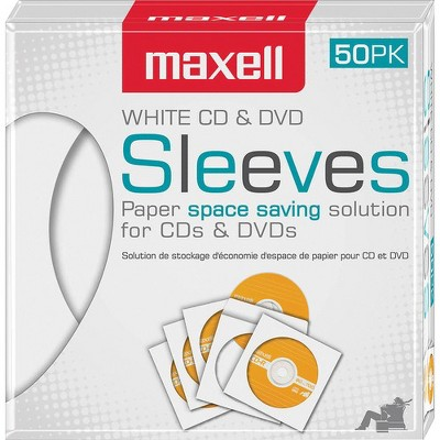 Maxell White CD / DVD Sleeves - Sleeve - Slide Insert - White
