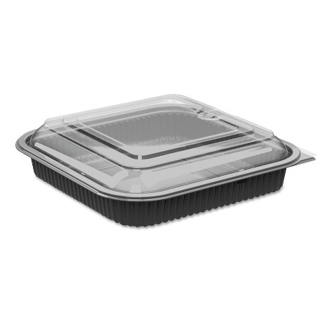 """Anchor Packaging Culinary Squares 2-Piece Microwavable Container, 36oz, Clear/Black, 2.25"""",150/CT - image 1 of 1"""