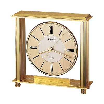 Bulova Clocks B1700 Grand Prix Metal Roman Numeral Non Ticking Clock with Protective Glass Lens, Two-Tone Metal Dial. and Engraving Plate, Brass