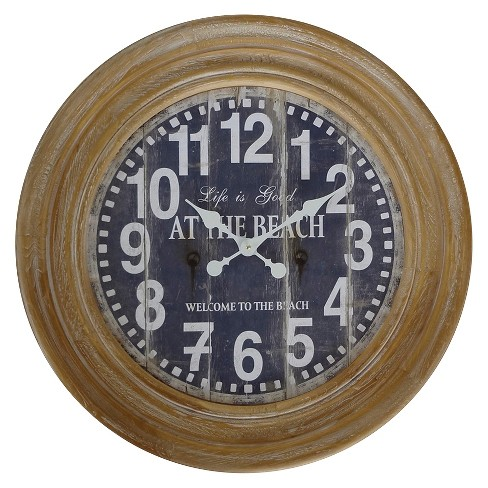 27 75 Round Rustic Charm Wall Clock Distressed Wood Finish