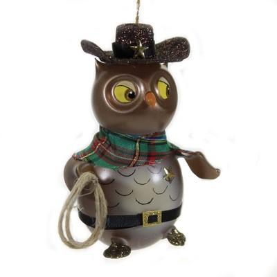 "Italian Ornaments 5.25"" Cowboy Owl Ornament Italian  -  Tree Ornaments"