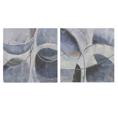 2pc Abstract Printed Canvas Decorative Wall Art Blue/Gray