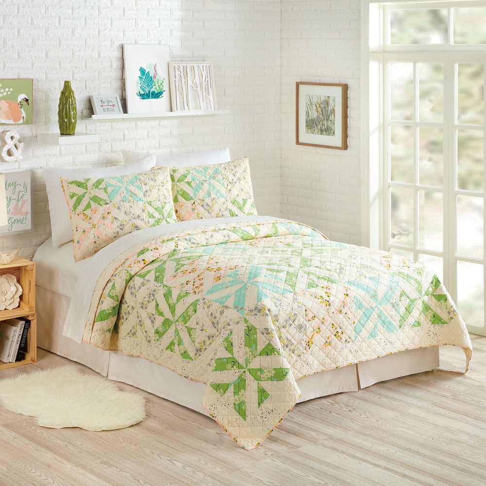 Image of 3pc Full/Queen Cascade Quilt Set Ivory - Bonnie Christine for Makers Collective, White