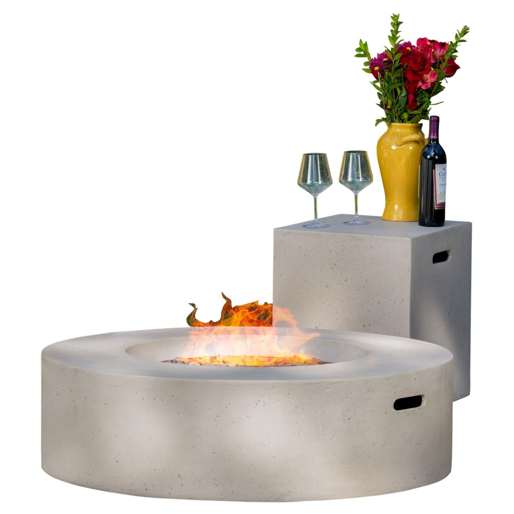 Aidan 39.25 Magnesium Oxide Gas Fire Pit Table With Tank Holder Circular - Light Gray - Christopher Knight Home