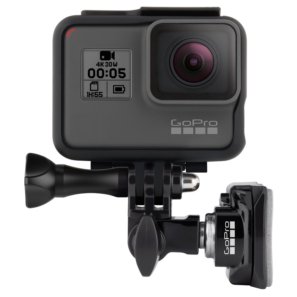 GoPro Helmet Front and Side Mount - Black (Ahfsm-001) Mount any GoPro to the front or side of helmets. With the included Swivel Mount assembly, easily adjust, rotate and aim while the camera is mounted. Color: Black.