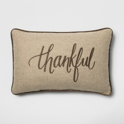 'Thankful' Lumbar Throw Pillow Neutral - Threshold™