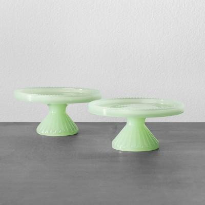 2pk Cupcake Stand Green Milkglass - Hearth & Hand™ with Magnolia