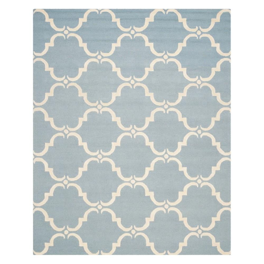 Quatrefoil Design Area Rug Blue/Ivory