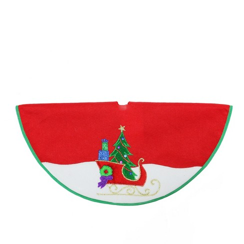 """Northlight 20"""" Red and White Mini Christmas Tree Skirt With a Loaded Sleigh in The Snow - image 1 of 1"""