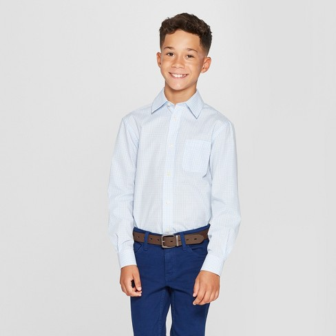 Boys' Checked Long Sleeve Button-Down Shirt - Cat & Jack™ Blue/White - image 1 of 3