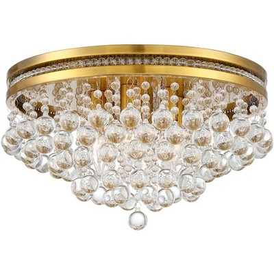 """Vienna Full Spectrum Ceiling Light Flush Mount Fixture Brass 15 1/4"""" Wide Clear Crystal for Bedroom Kitchen Living Room Hallway"""